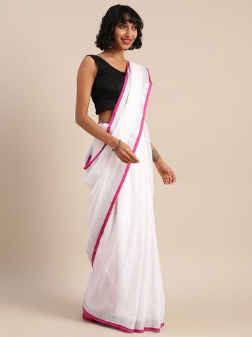 Vastranand   VASTRANAND  White & Pink Cotton Blend Solid Bhagalpuri Saree