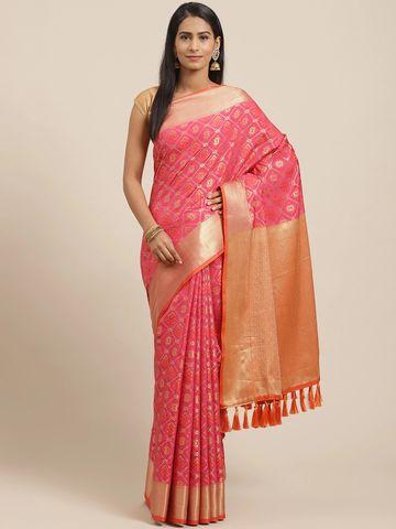 Vastranand | VASTRANAND Pink & Golden Woven Design Patola Saree