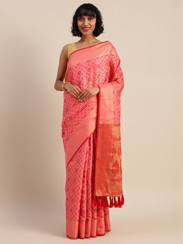 Vastranand | VASTRANAND  Pink & Red Silk Blend Woven Design Patola Saree