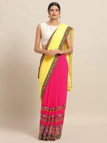 Vastranand | VASTRANAND Pink Georgette Embroidered Bandhani Saree