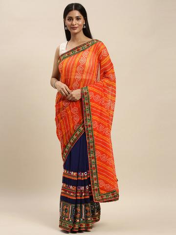 Vastranand | VASTRANAND Navy Blue & Orange Georgette Embroidered Bandhani Saree