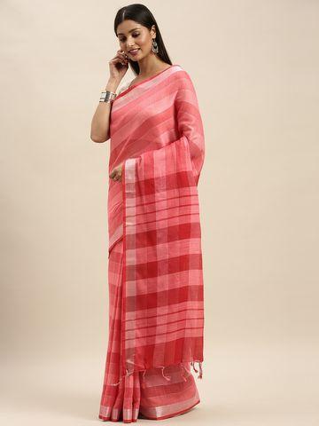 Vastranand | VASTRANAND Pink Striped Linen Blend Saree