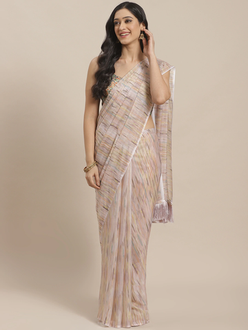 Vastranand | VASTRANAND  Beige Printed Pure Silk Celebrity Saree