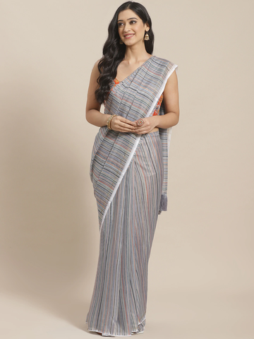 Vastranand | VASTRANAND  Grey & Orange Pure Silk Striped Celebrity Saree