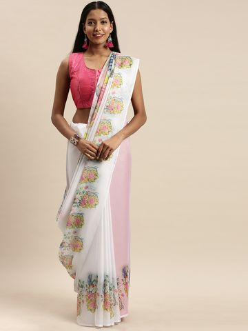 Vastranand | VASTRANAND White & Yellow Pure Silk Floral Printed Saree