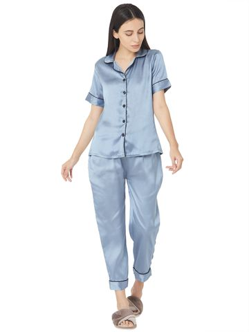 Smarty Pants | Silk satin slate blue night suit