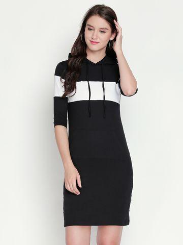 Jhankhi | Black Colourblocked Shift Dress Hoodie