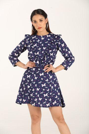EUDORA CUT | Butterfly Printed Women's Mini Dress