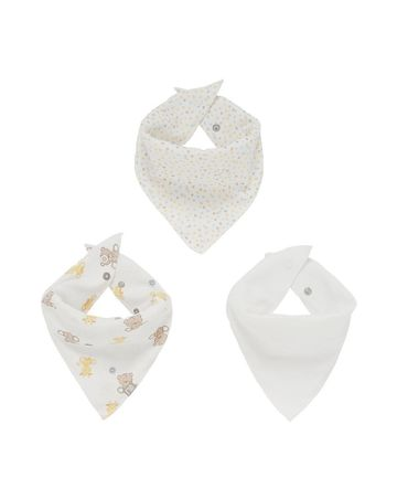 Mothercare | White Printed Bib - Pack of 3