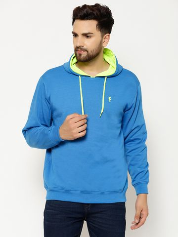 Eppe | Eppe Men's Blue Cotton Blend Lightweight Full Sleeves Pullover Fleece with Drawstring Sweatshirt