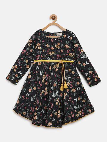Bellamoda | Bella Moda A line, Fit & Flair, Casual Dress, For Girls, Black, 4 - 5 Years