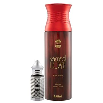 Ajmal | Ajmal Asher Concentrated Perfume Oil Oriental Alcohol-free Attar 12ml for Unisex and Sacred Love Deodorant Floral Musky Fragrance 200ml for Women + 2 Parfum Testers FREE