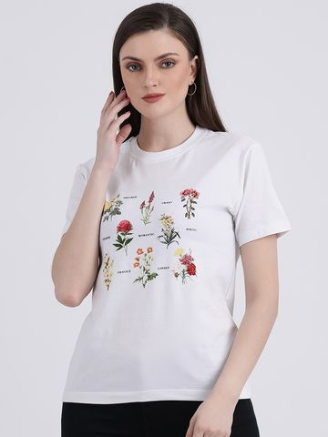 Zink London | Zink London Women's White Printed Regular Top