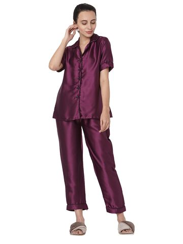 Smarty Pants | Silk satin solid burgundy color night suit pair