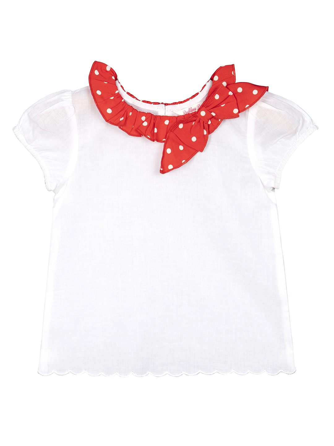 Budding Bees | Budding Bees Infants Solid Scollaped Top-White