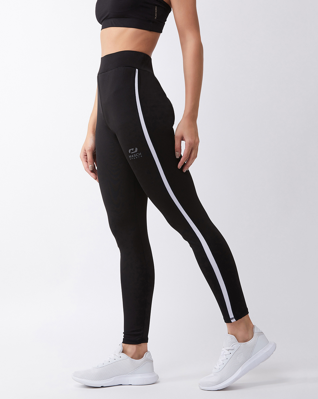 Masch Sports   Masch Sports Women's Black Solid Sports Tights with White Side Stripe