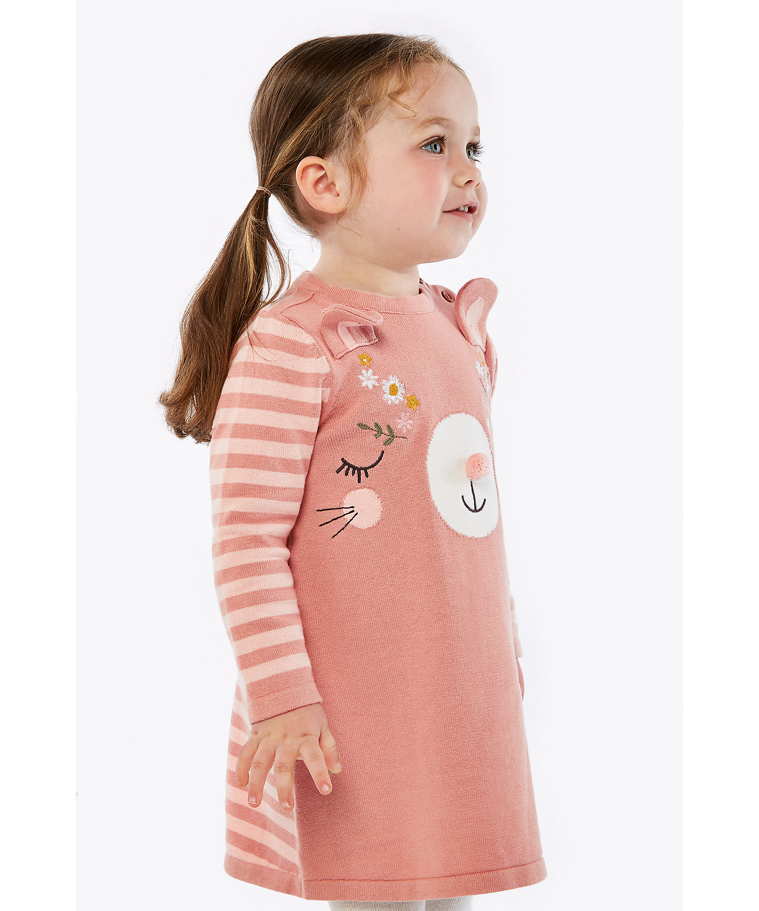 Mothercare | Girls Full Sleeves Dress And Tight Set Embroidered And 3D Ear Details - Multicolor
