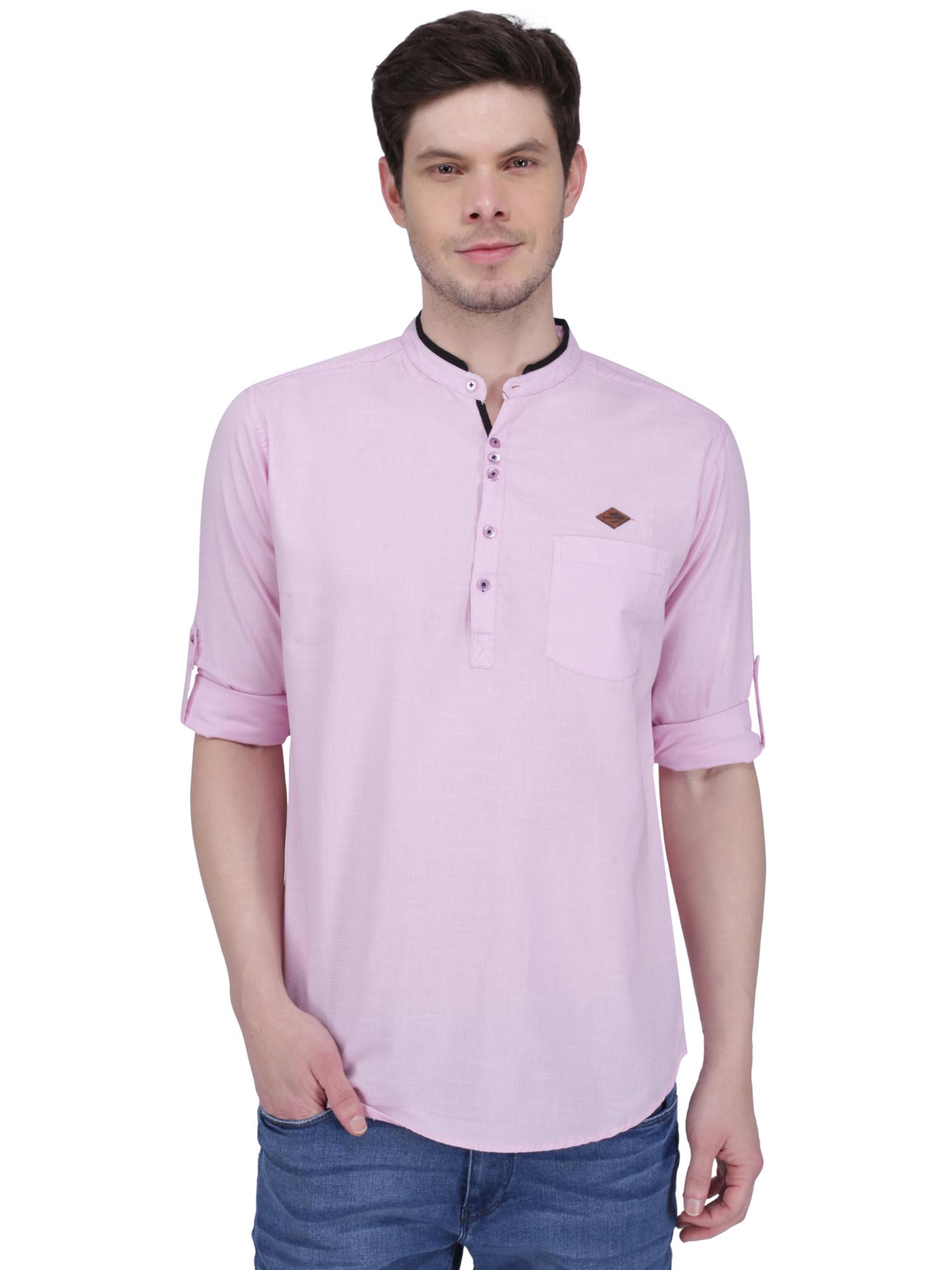 Kuons Avenue | Kuons Avenue Men's Baby Pink Linen Cotton Short Kurta- KACLFS1315PK