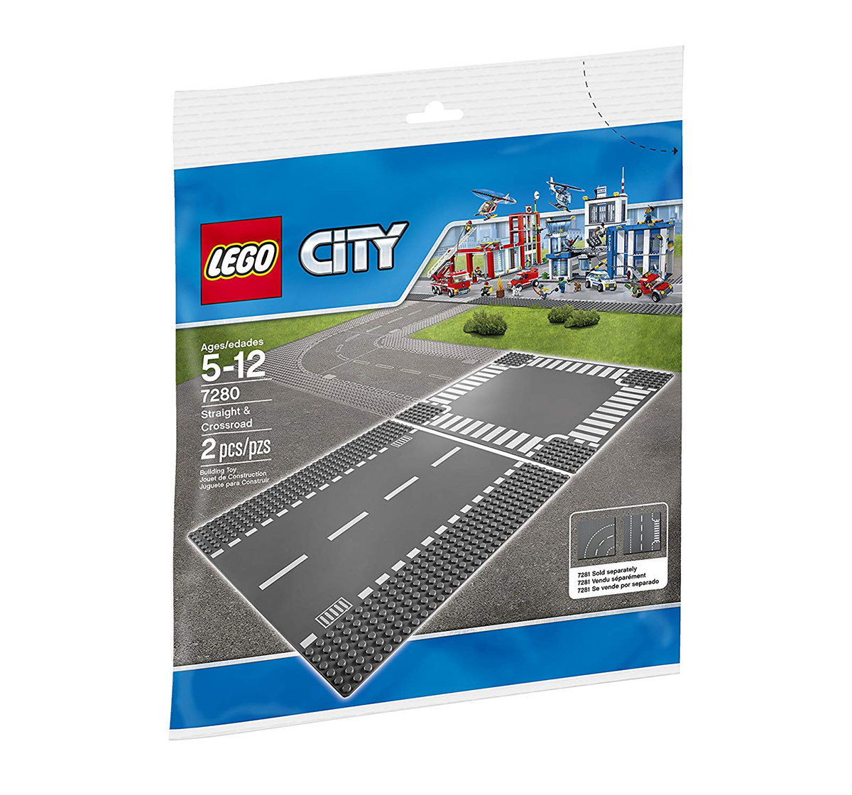LEGO |  Lego 7280 City Town Straight And Crossroad Plate Building Kit, Multi Color Blocks for Kids age 5Y+ (Black)