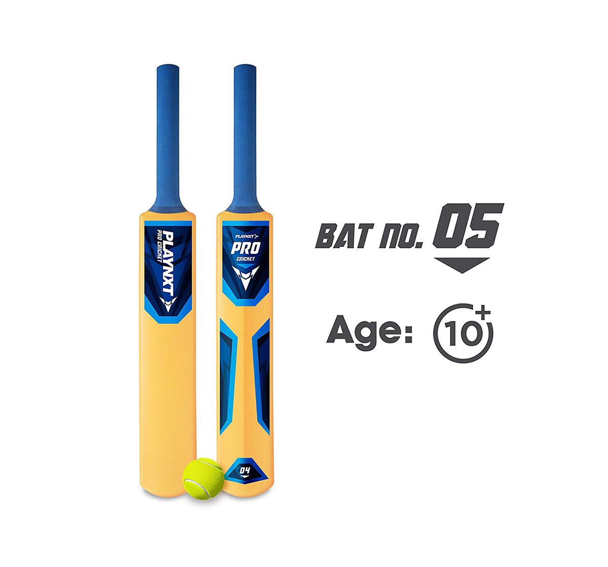 Playnxt | Playnxt Pro Cricket Bat No. 5 For Kids & Adults, 9Y+ (Ivory Yellow )