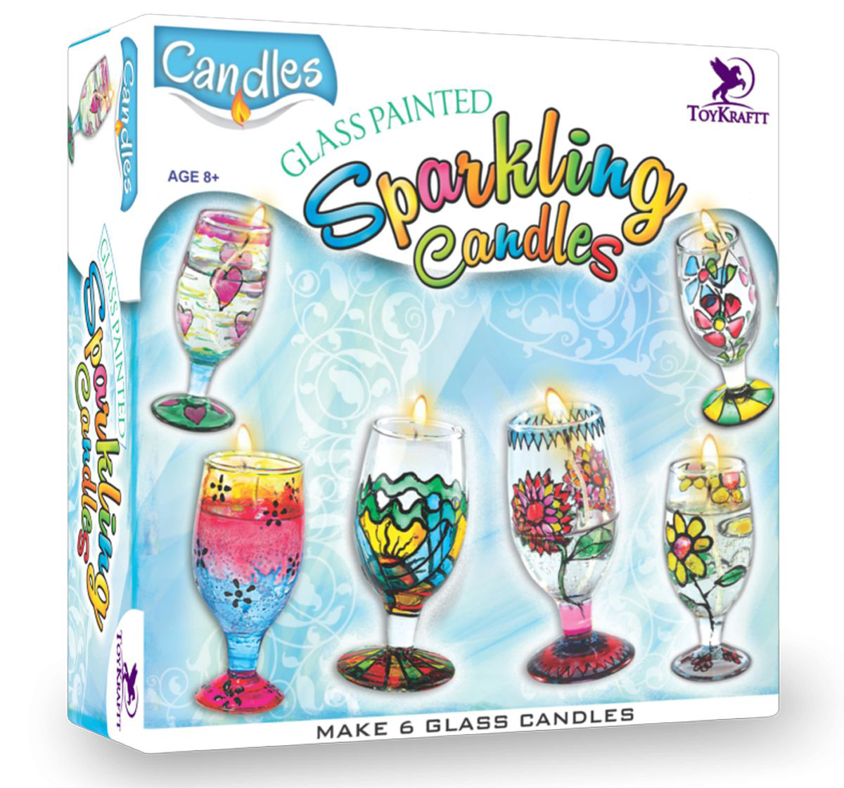 Toy Kraft | Toy Kraft Glass Painted Sparkling Gel Candles, Multicolor, 8Y+