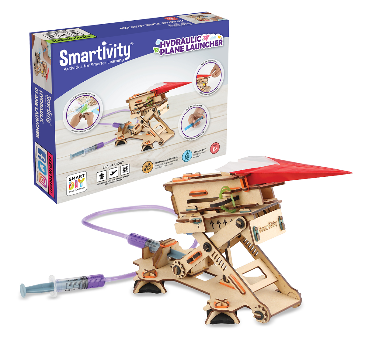 Smartivity | Smartivity Hydraulic Plane Launcher, Stem, Learning, Educational And Construction Activity Toy Gift (Multi-Color), Unisex, 6Y+ (Multicolor)
