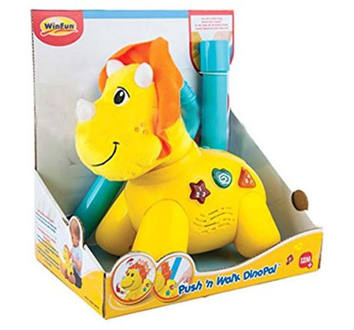 WinFun | Winfun Push N Walk Dino Pal - Yellow Early Learner Toys for Kids age 12M+