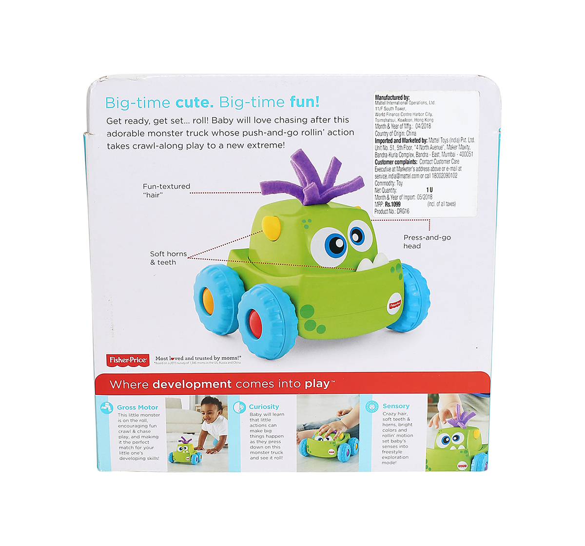 Fisher-Price   Fisher Price Press N Go Monster Truck- Green Early Learner Toys for Kids age 9M+ (Green)