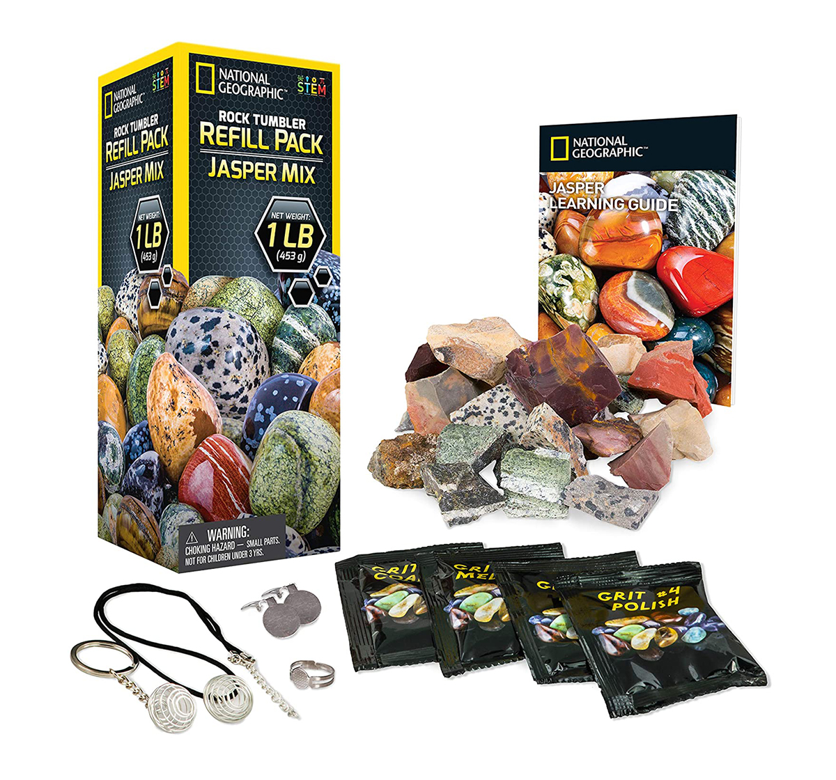 National Geographic | National Geographic Rough Jasper Refill Kit For Rock Tumbler for Kids age 6Y+