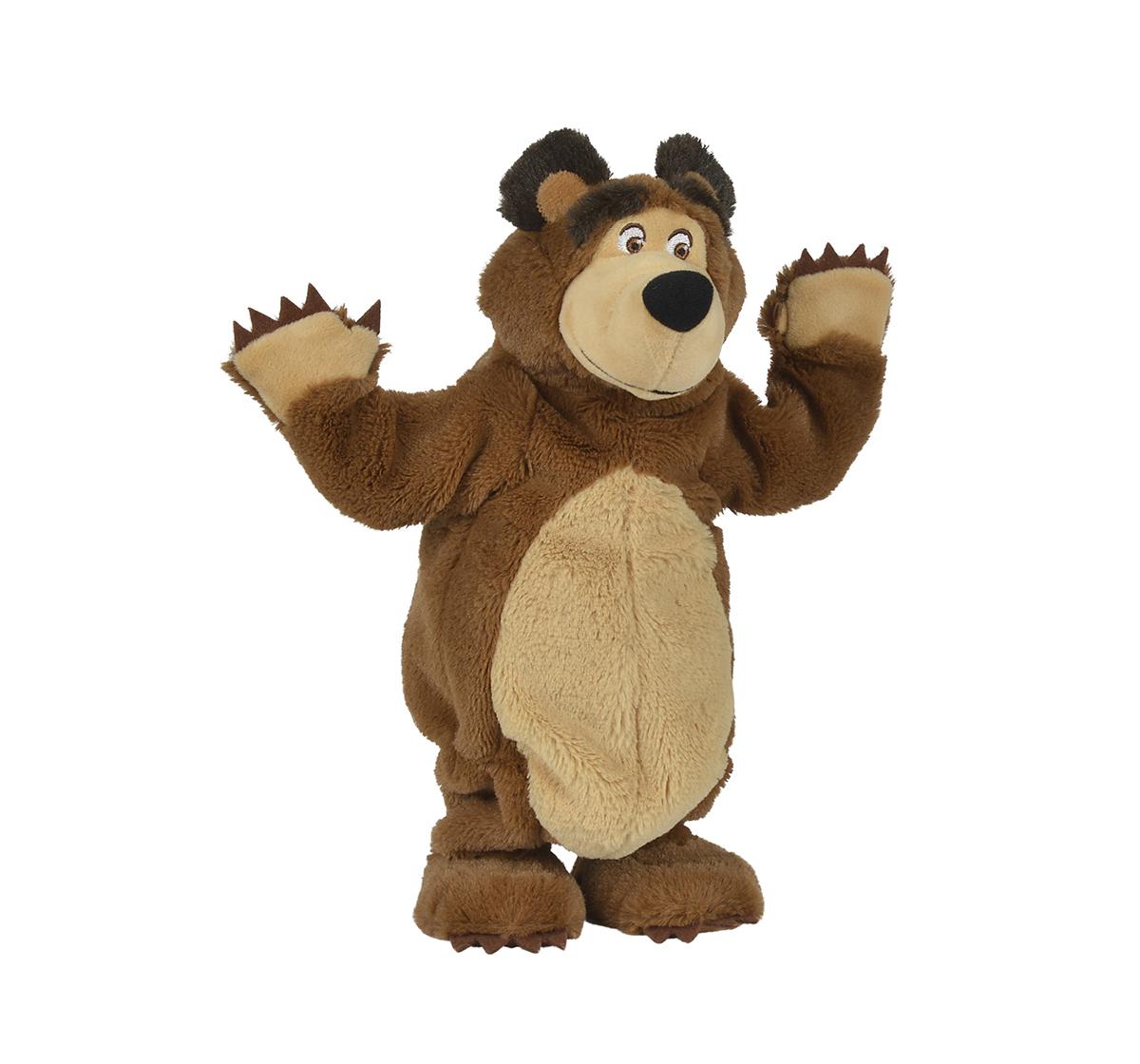 Masha And The Bear | Simba Masha Plush Bear With Music Fun Interactive Soft Toys for Kids age 3Y+ - 34 Cm (Brown)