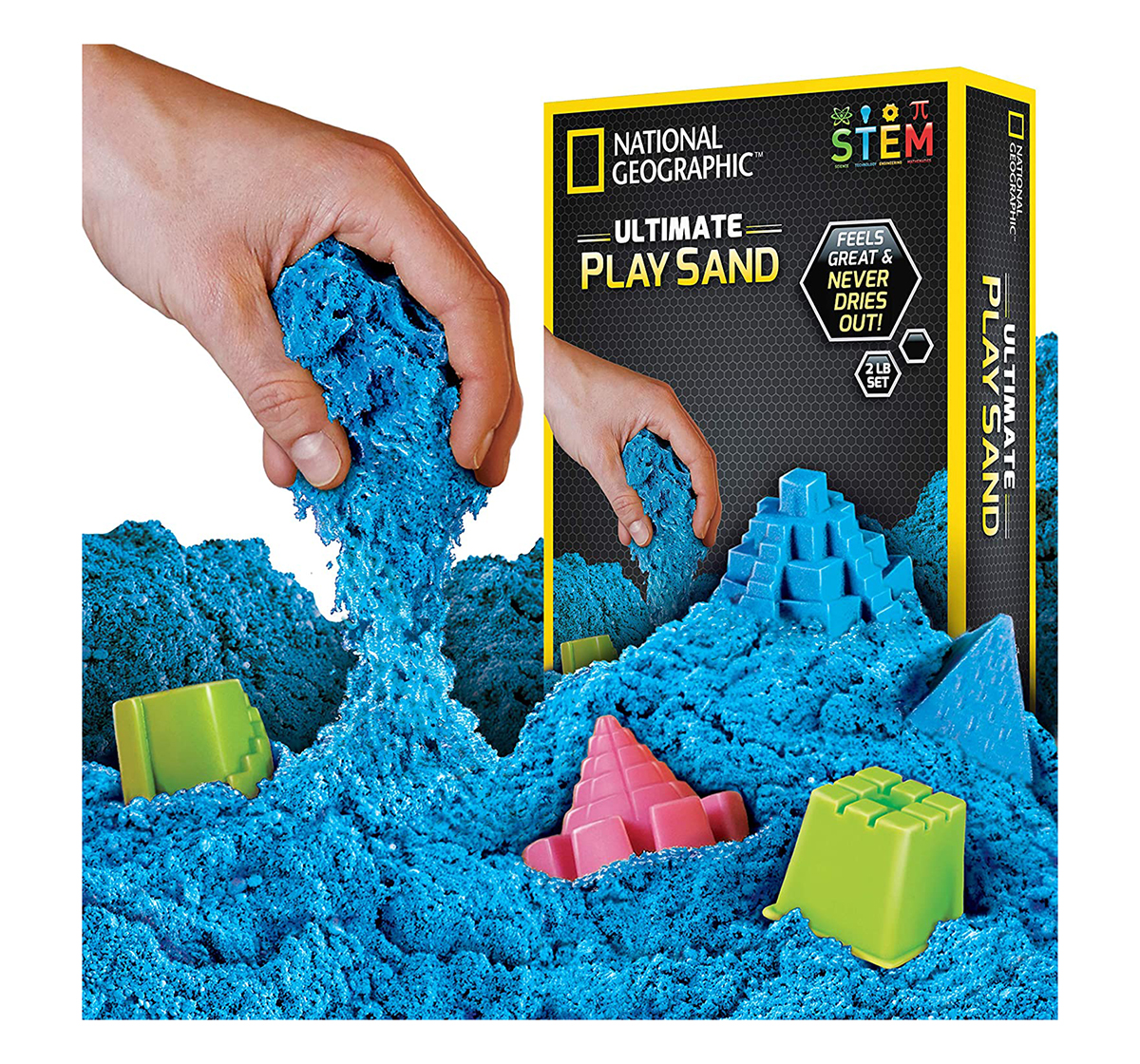National Geographic   National Geographic 2Lb Sensory Sparkling Play Sand for Kids age 3Y+ (Blue)