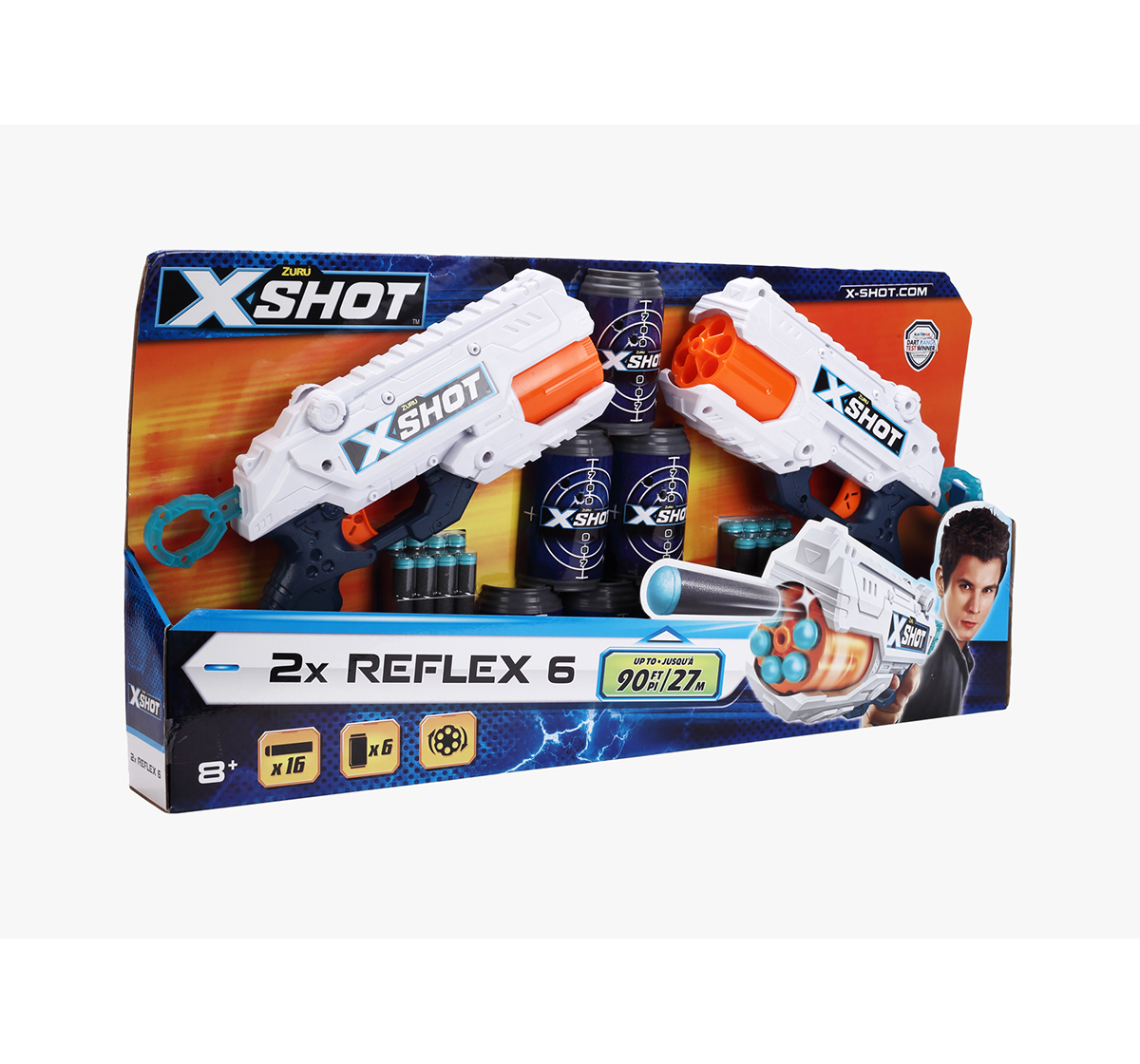 X-Shot | X-Shot Excel Reflex 6 Combo Pack Blasters for Kids age 6Y+ (White)