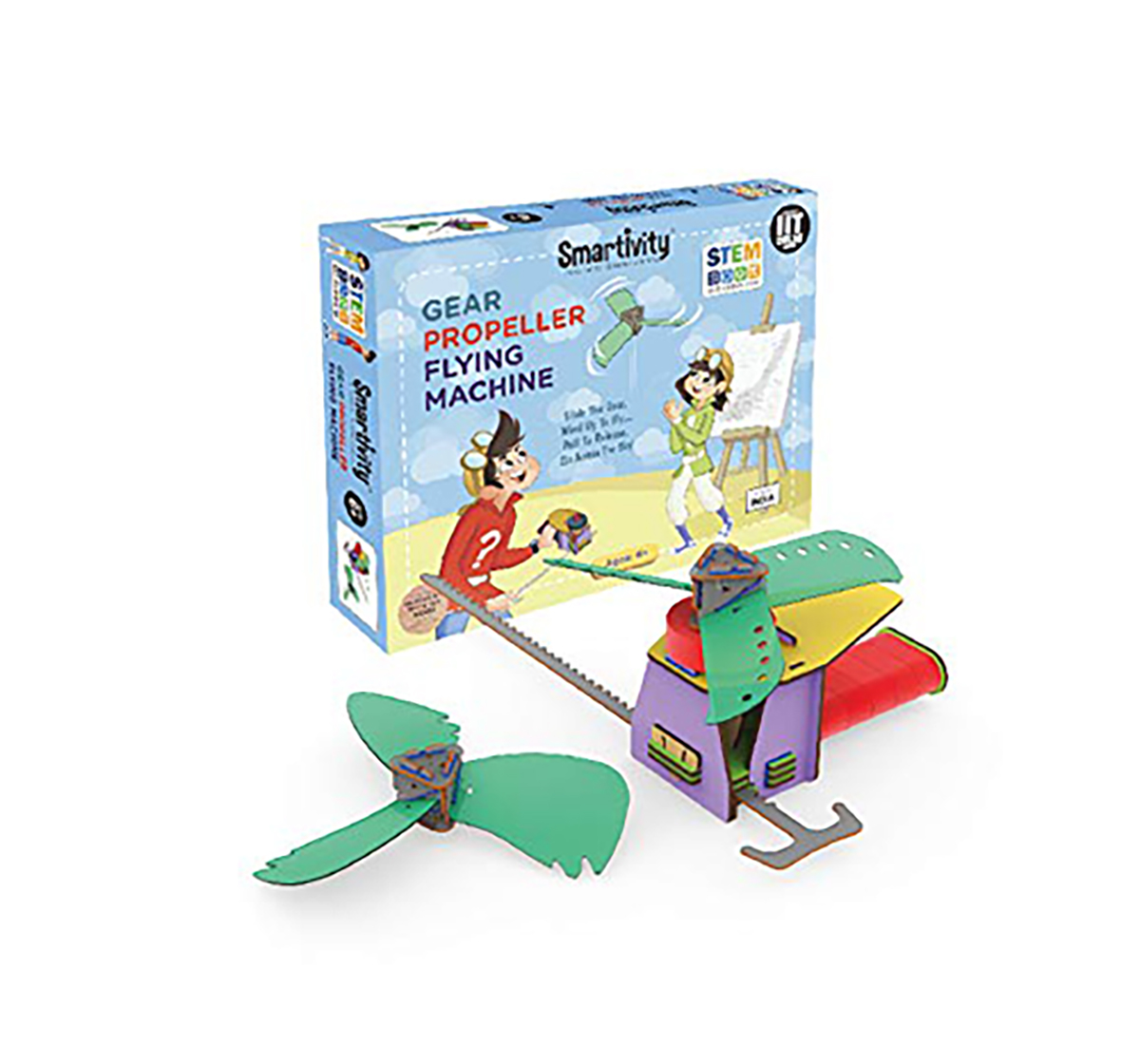 Smartivity | Smartivity Gear Propeller Flying Machine: Stem, Learning, Educational and Construction Activity Toy Gift for Kids age 6Y+ (Multi-Color)