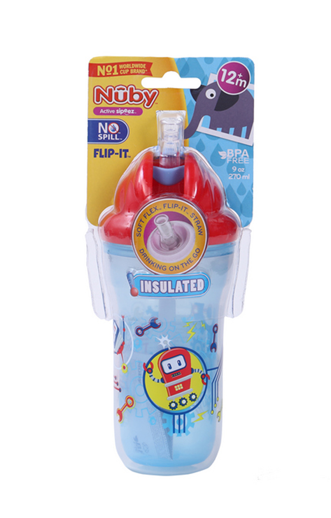 Mothercare | Nuby Insulated Flip-It Straw Active Sipeez 270ml Blue