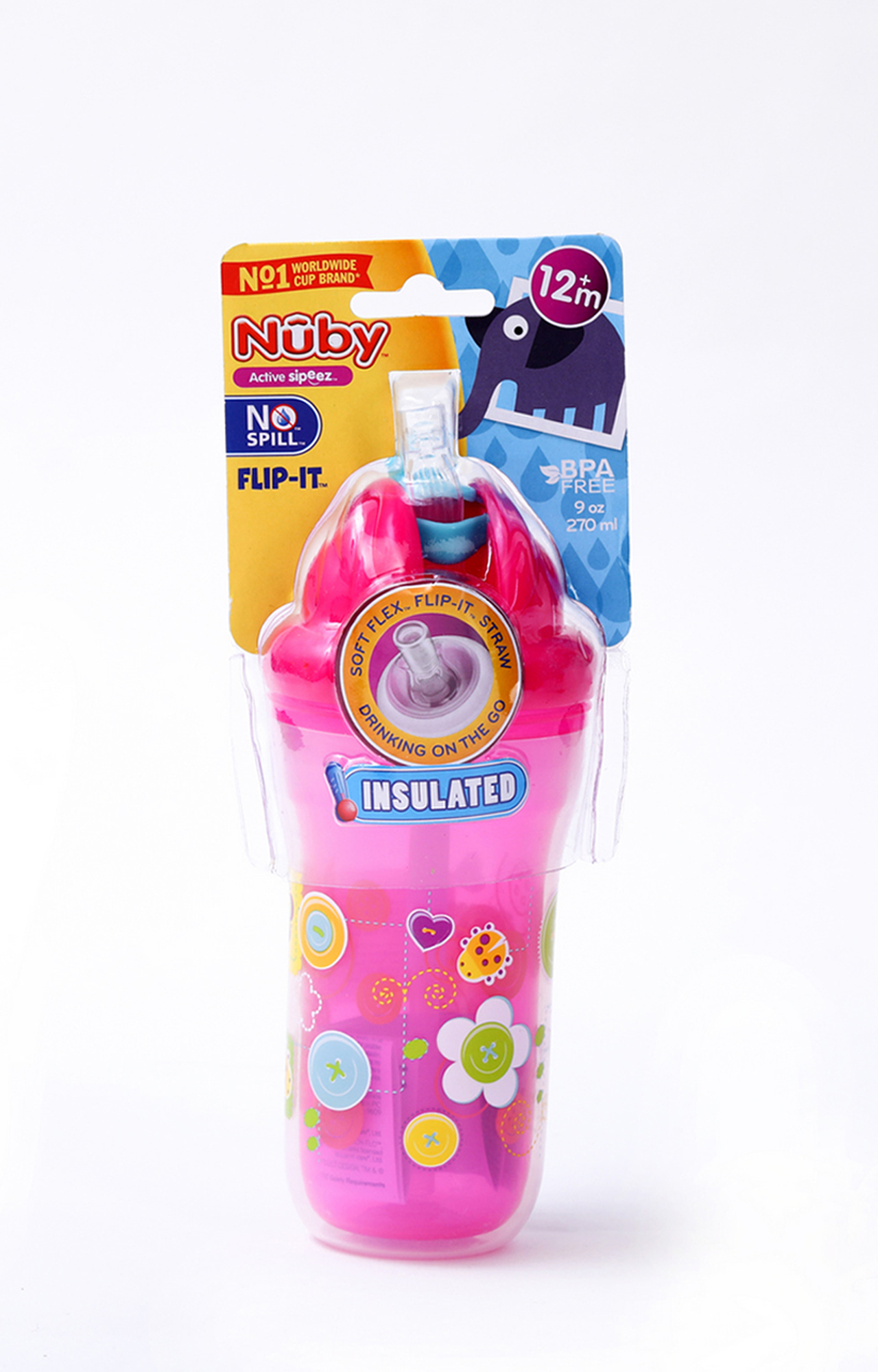 Mothercare | Nuby Insulated Flip-It Straw Active Sipeez 270ml Pink