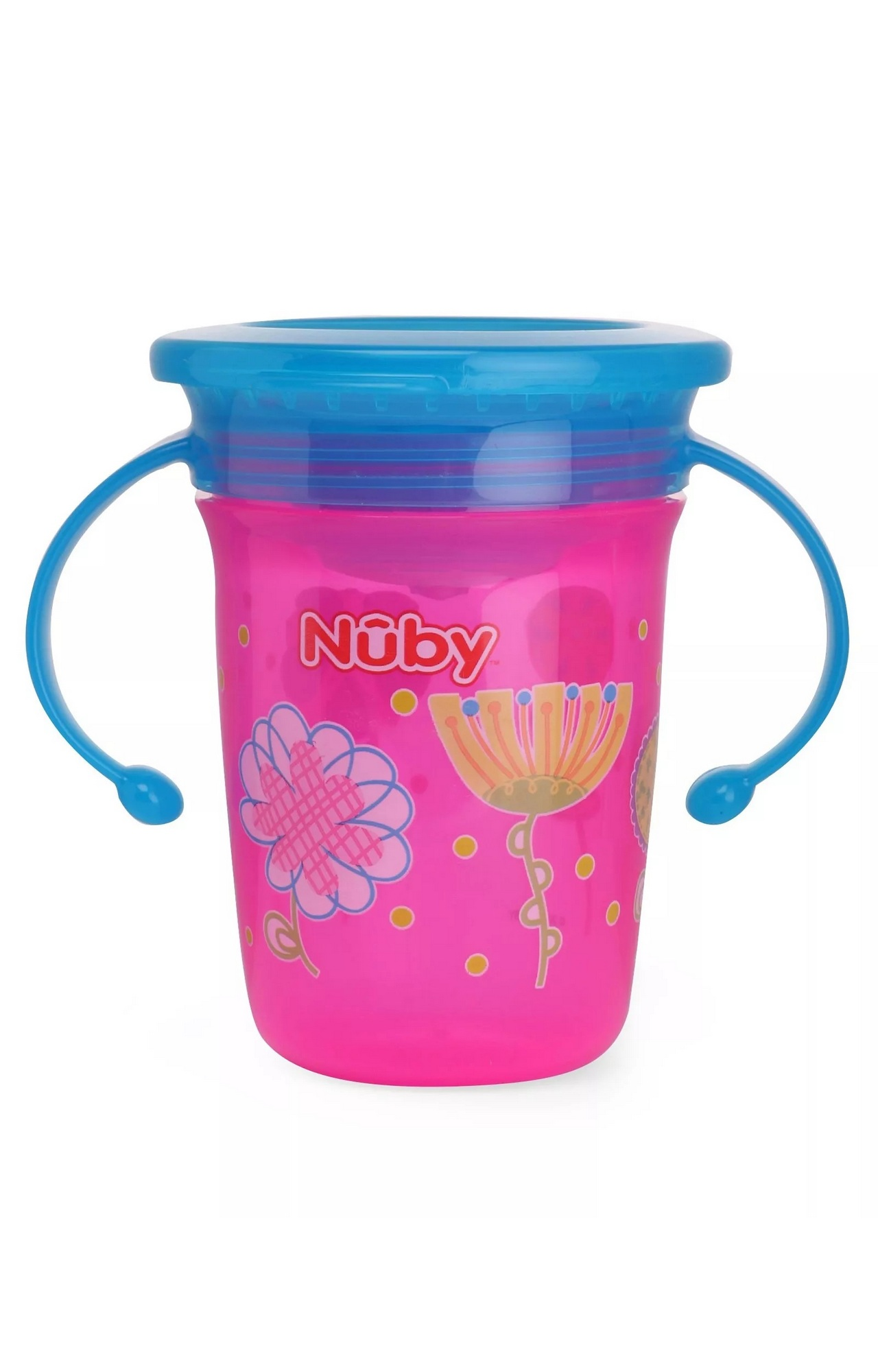 Mothercare   Nuby 360° Wonder Cup Printed With Handle 240ml Pink
