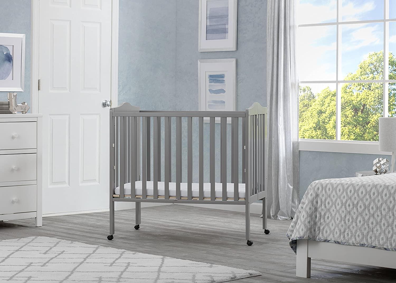 Mothercare | Delta Children Portable Folding Crib With Mattress Grey