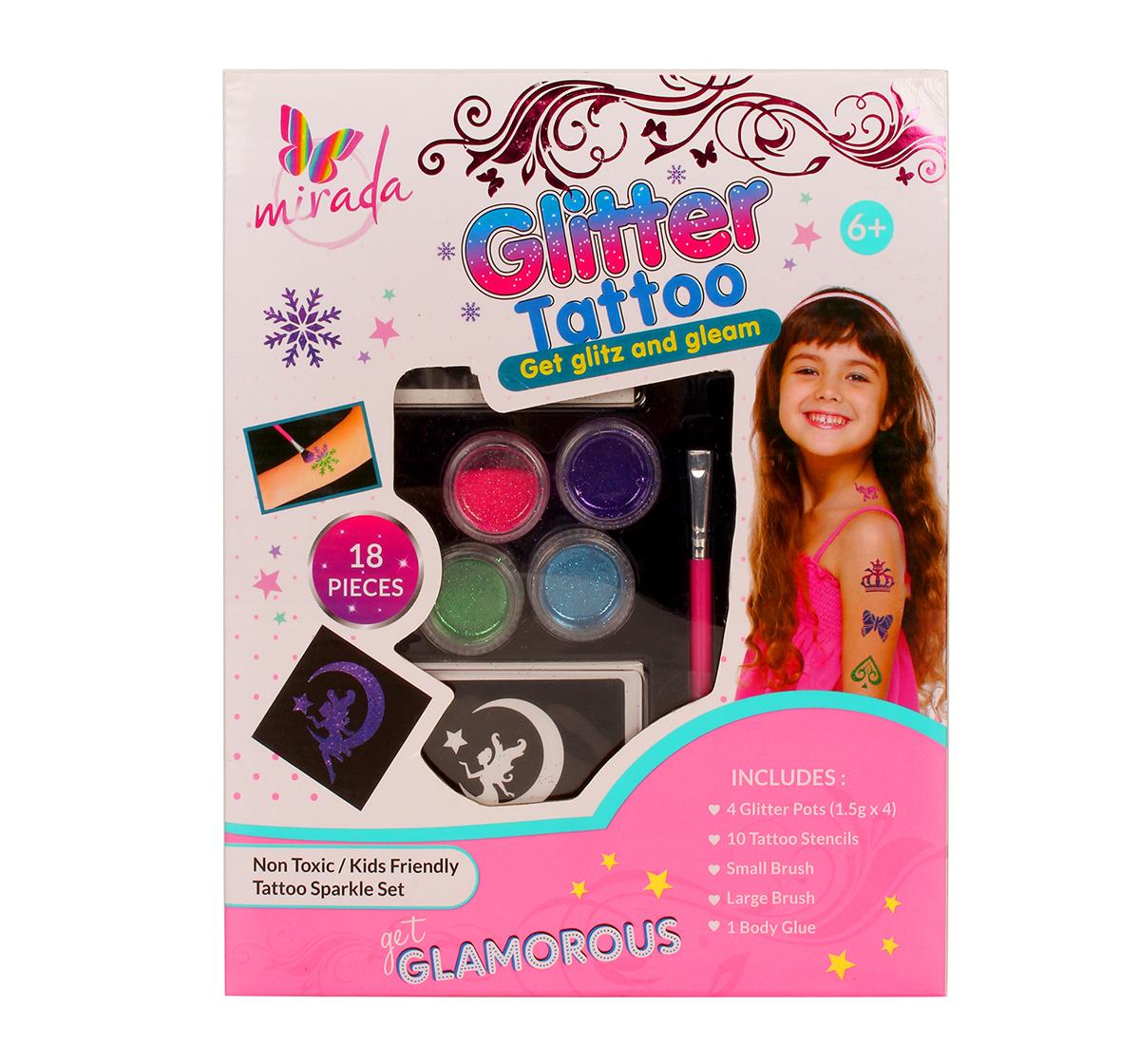 Mirada | Mirada Glitter Tattoo-18 Pcs DIY Art & Craft Kits for Girls age 6Y+