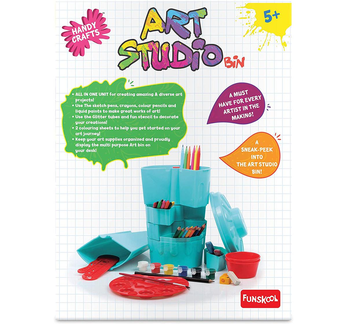 Funskool | Funskool Art Studio Bin-Blue DIY Art & Craft Kits for Kids age 5Y+ (Blue)
