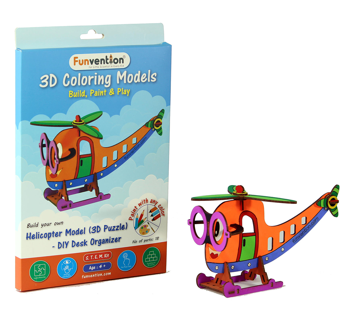 Funvention | Funvention 3D Coloring Model - Helicopter Stem for Kids Age 5Y+