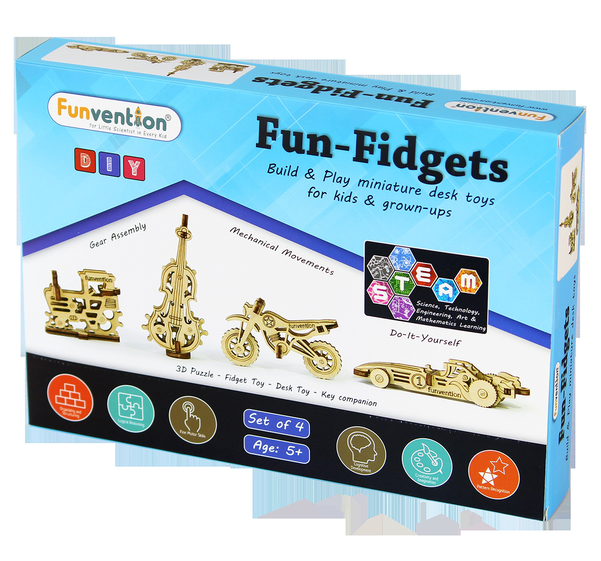 Funvention | Funvention Fun Fidgets - Assorted - Set Of 4 Model Stem for Kids Age 5Y+