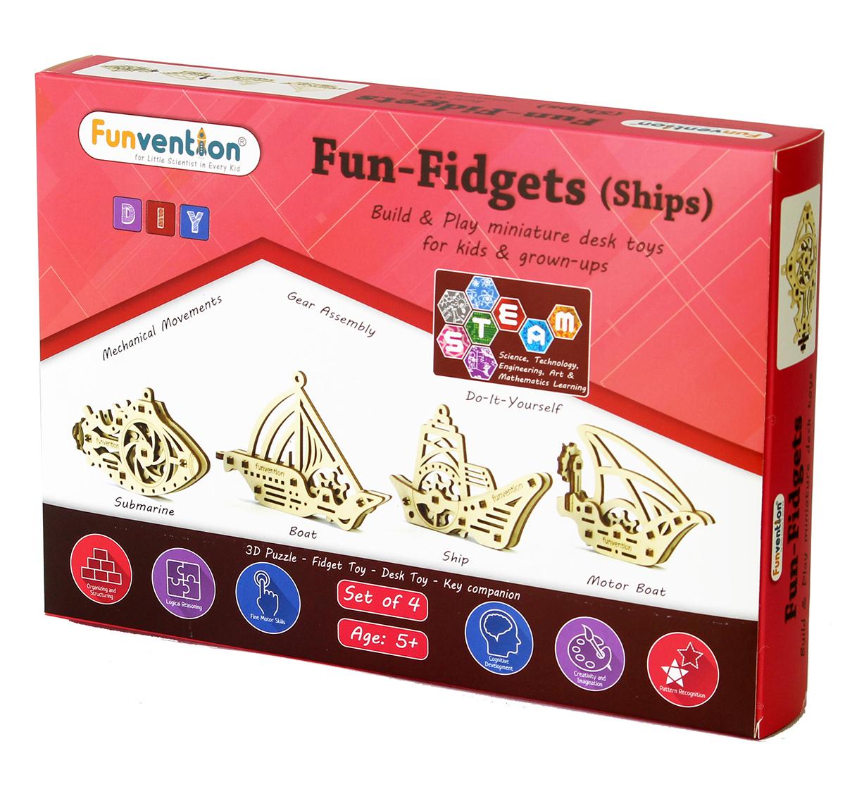 Funvention | Funvention Fun Fidgets - Ships - Set Of 4 Models Stem for Kids Age 5Y+