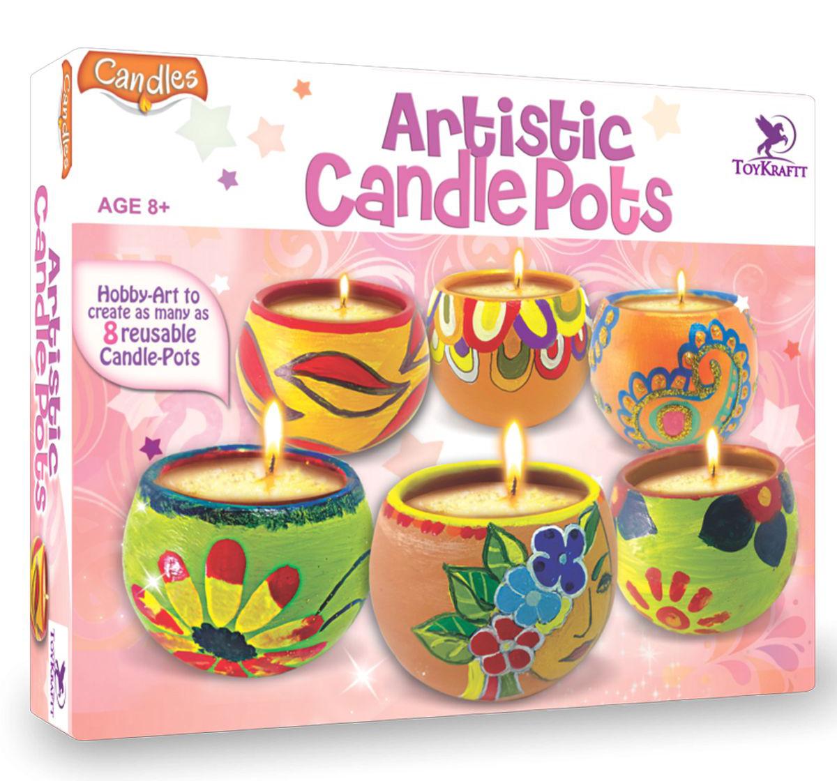 Toy Kraft | Toy Kraft Artistic Candle Pots, Multicolor, 8Y+