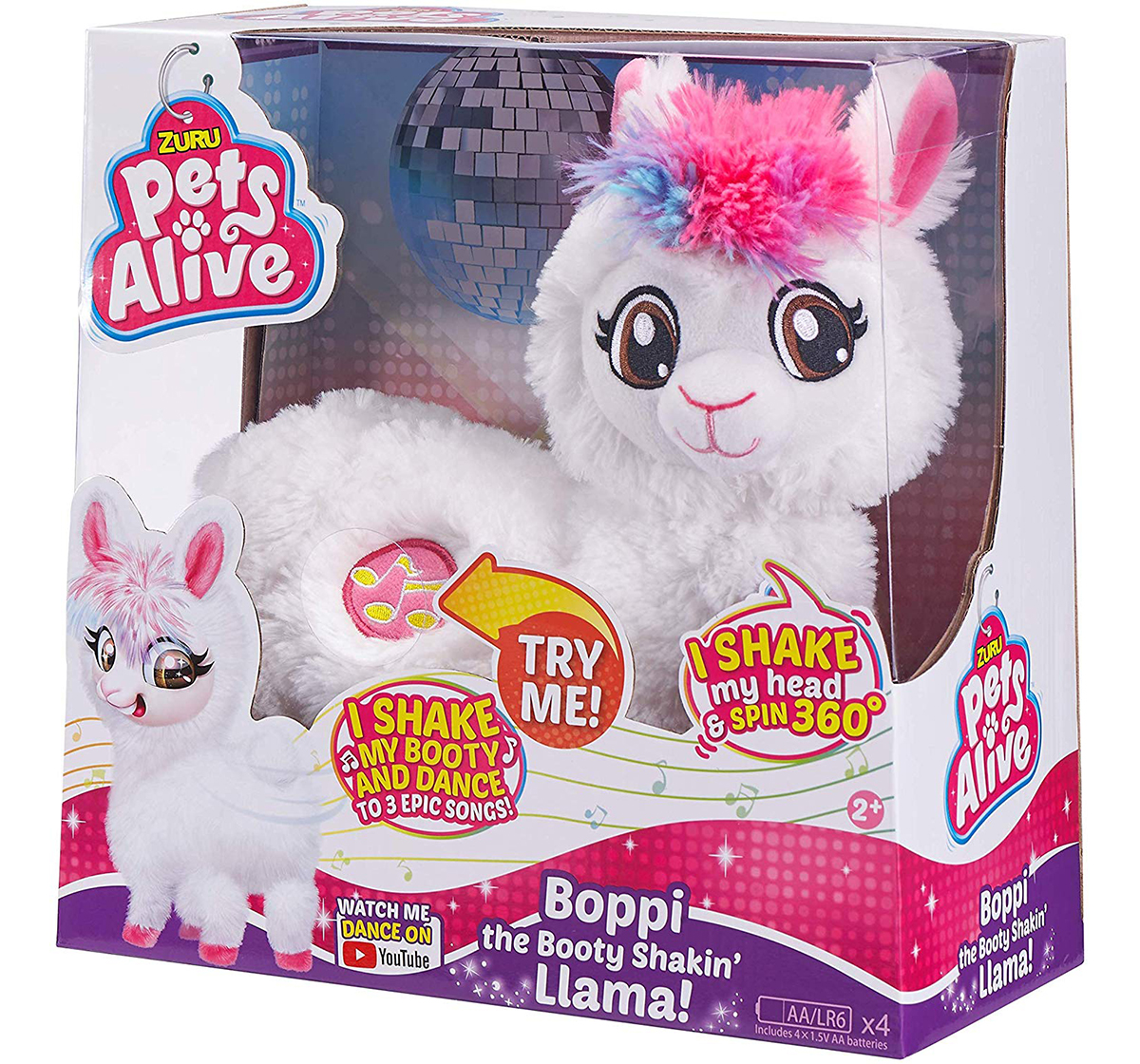 Pets Alive | Pets Alive Boppi The Booty Shaking Lama Interactive Soft Toys for Kids age 2Y+ - 14 Cm (White)