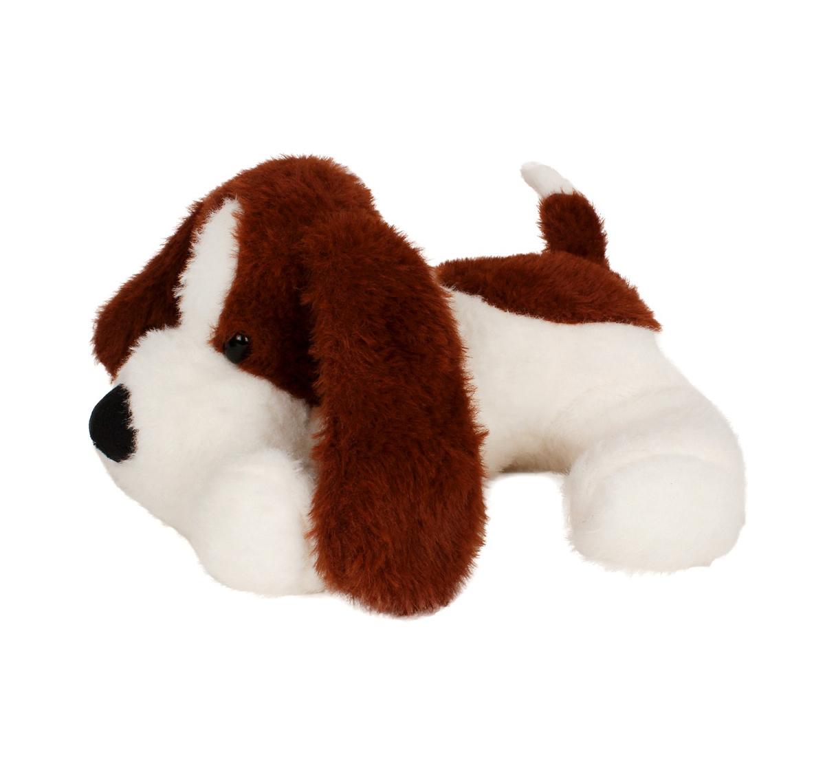 Fuzzbuzz | Fuzzbuzz Soft Lying Dog - Dark Brown - 33Cm Quirky Soft Toys for Kids age 0M+ - 15 Cm (Dark Brown)