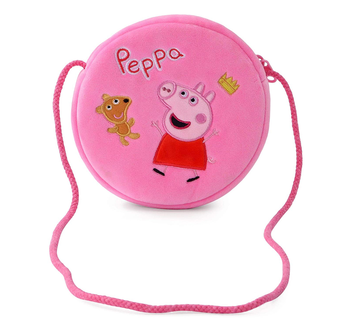Peppa Pig | Peppa Pig with Bear Round Sling Bag Plush Accessory for Girls age 3Y+ - 16 Cm (Pink)
