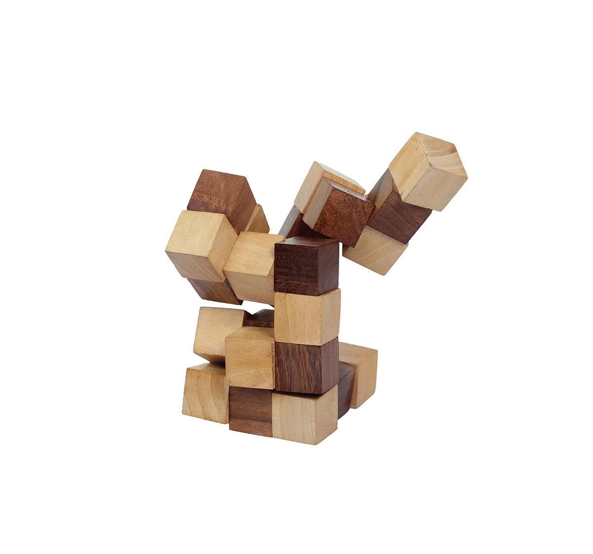Desi Toys | Desi Toys Snake Cube Puzzle Ghan Akar Brain Teaser Game for Kids age 5Y+ (Brown)