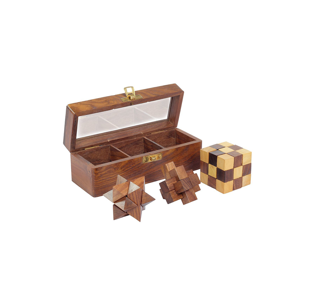 Desi Toys | Desi Toys 3 In 1 Puzzle Set for Kids age 5Y+ (Brown)