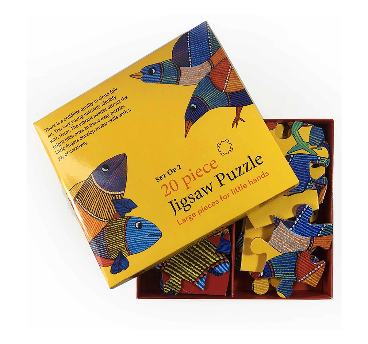 Froggmag | Frogg Bird & Fish Puzzle 20Pc Puzzles for Kids age 5Y+ (Yellow)