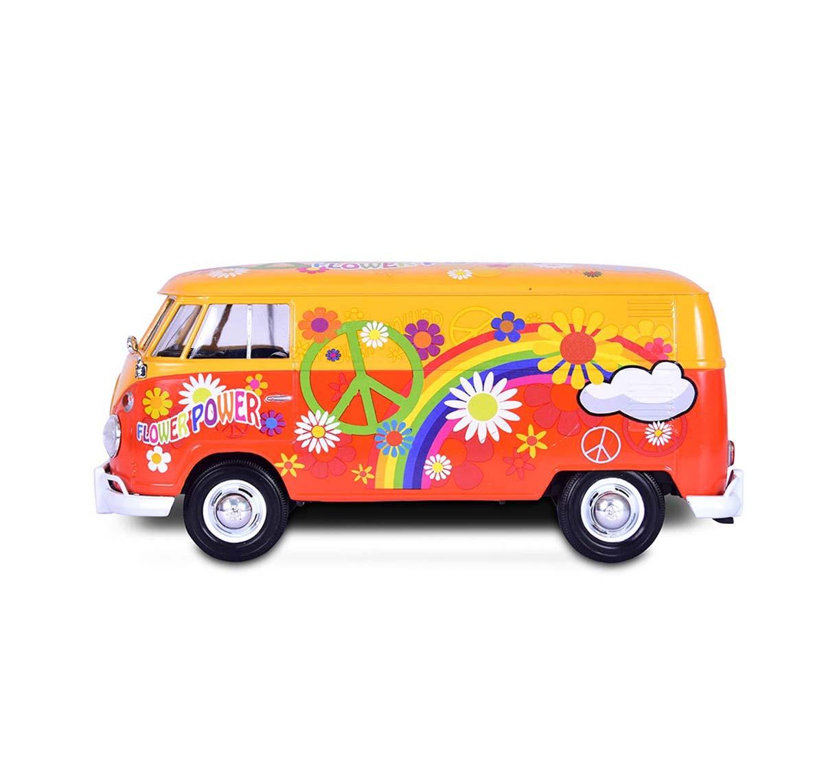 Motormax | Motormax 1: 24 Volkswagen Type 2 (Ti) Delivery Van (Flower Power) Yellow Vehicles for Kids age 14Y+